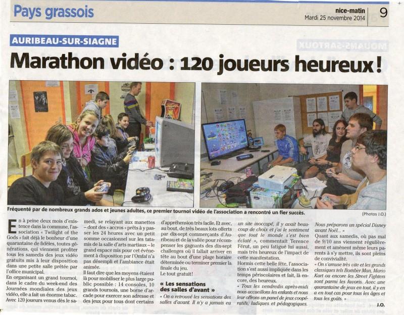 Coupure de presse Nice-Matin le 25/11/2014